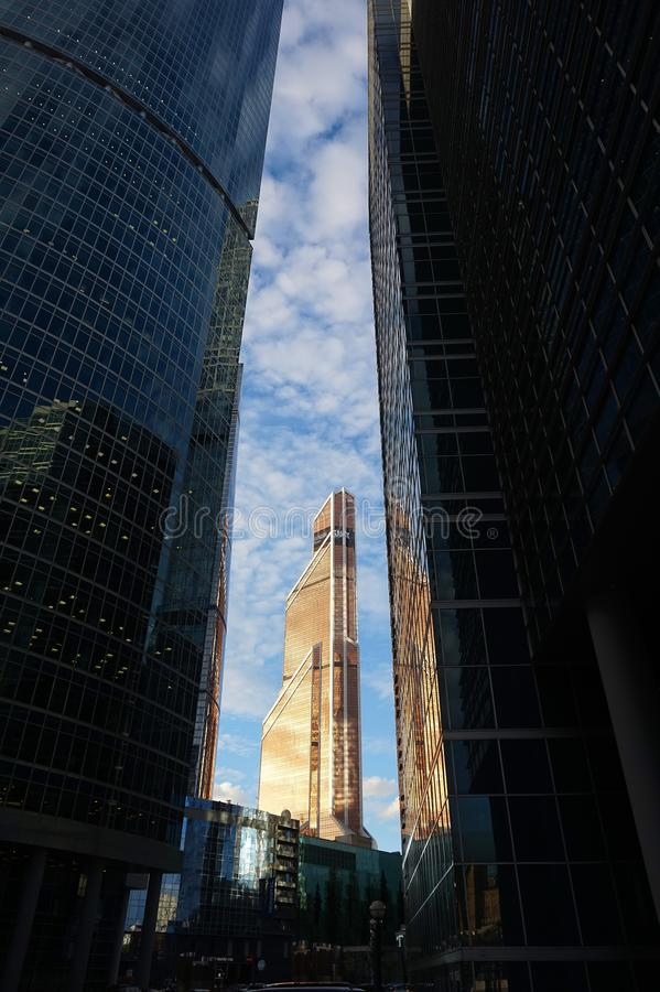 Mercury Tower Between two buildings. royalty free stock photography