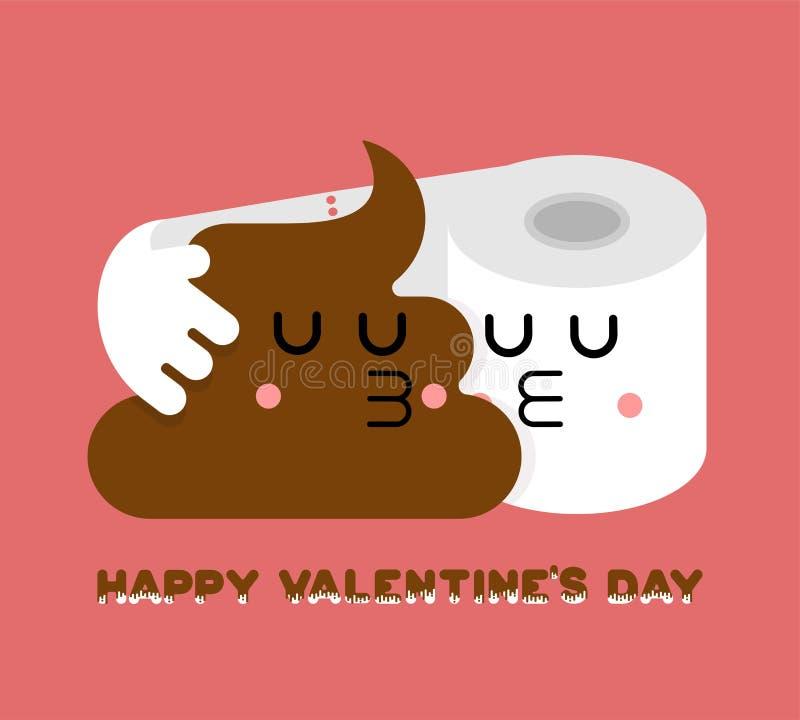 Merde et amour de papier hygiénique Deux amants Jour du `s de Valentine 14 février Toilette Romatic Valentine illustration de vecteur