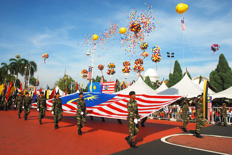 Merdeka Celebration. Independence Day celebration on 31st August every year in Ipoh city of Perak State, Malaysia. This image shows a group of army holding the stock photos