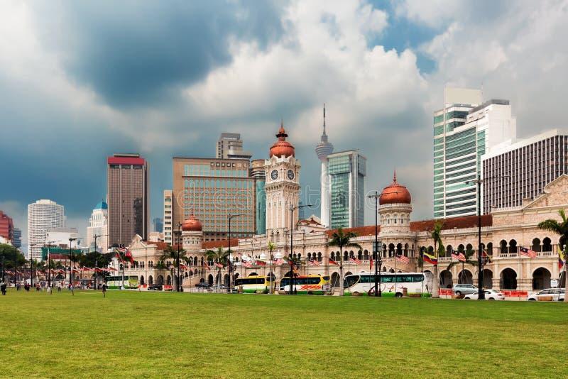 Merdeka fyrkant och horisont av Kuala Lumpur arkivfoto