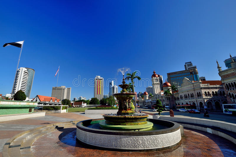 Merdeka Square or Dataran Merdeka. Is located in Kuala Lumpur, Malaysia. It is situated in front of the Sultan Abdul Samad Building. It was here the Union Flag royalty free stock photos