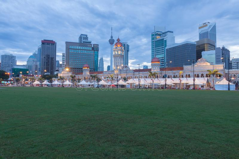 Merdeka Square in downtown Kuala Lumpur at morning.  royalty free stock photo