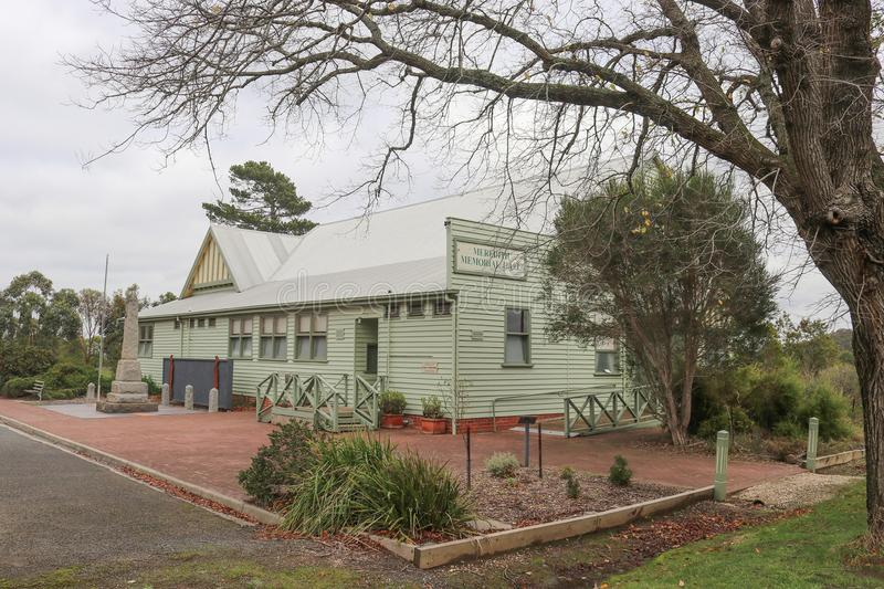The Meredith Memorial Hall 1906 was originally the Mechanics Institute and Free Library. MEREDITH, AUSTRALIA - June 1, 2019: The Meredith Memorial Hall 1906 was royalty free stock photography