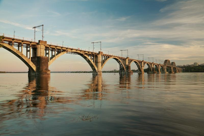 `Merefa-Kherson` railway bridge. Across the Dnieper River in Dnepropetrovsk Ukraine, urban landscape royalty free stock image