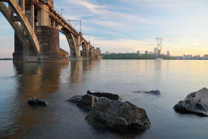 `Merefa-Kherson` Railway bridge. Across the Dnieper River in Dnepropetrovsk Ukraine, urban landscape stock photography