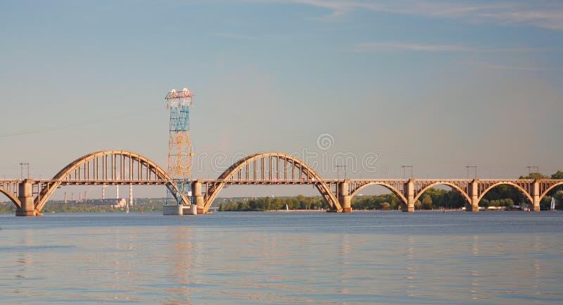 `Merefa-Kherson` railway bridge. Across the Dnieper River in Dnepropetrovsk Ukraine, urban landscape royalty free stock photos