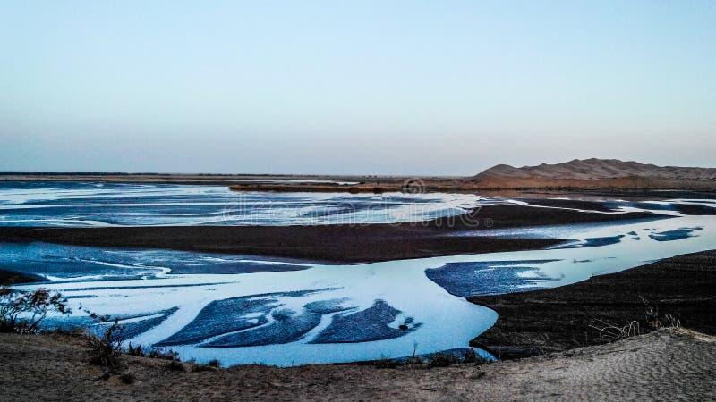 Meren in de woestijn stock fotografie