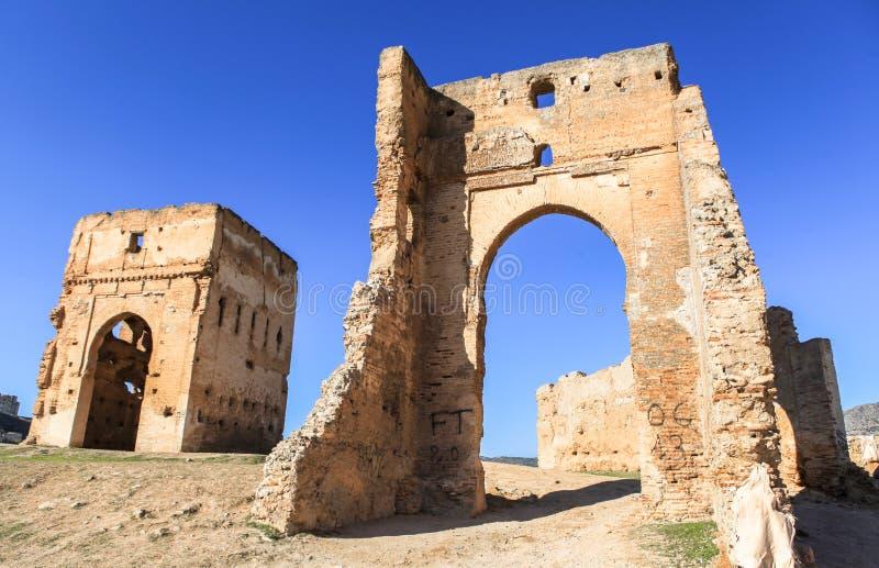 Merenid fästning i Fes, Marocko arkivfoto
