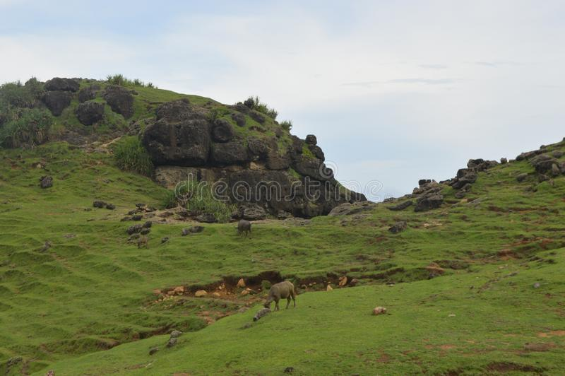 Merese小山,龙目岛,印度尼西亚 免版税库存图片