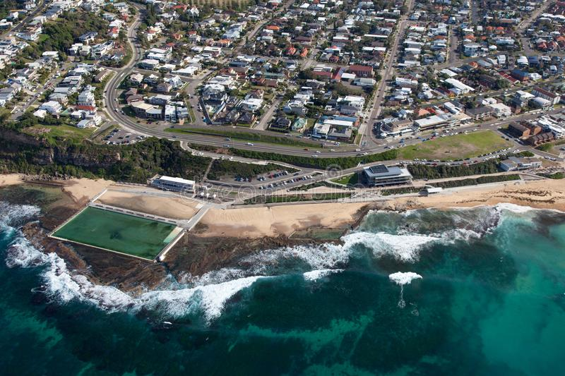 Merewether Beach and baths - Newcastle NSW Australia aerial view royalty free stock image