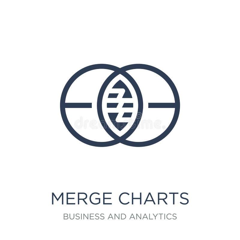 Merge charts icon. Trendy flat vector Merge charts icon on white stock illustration