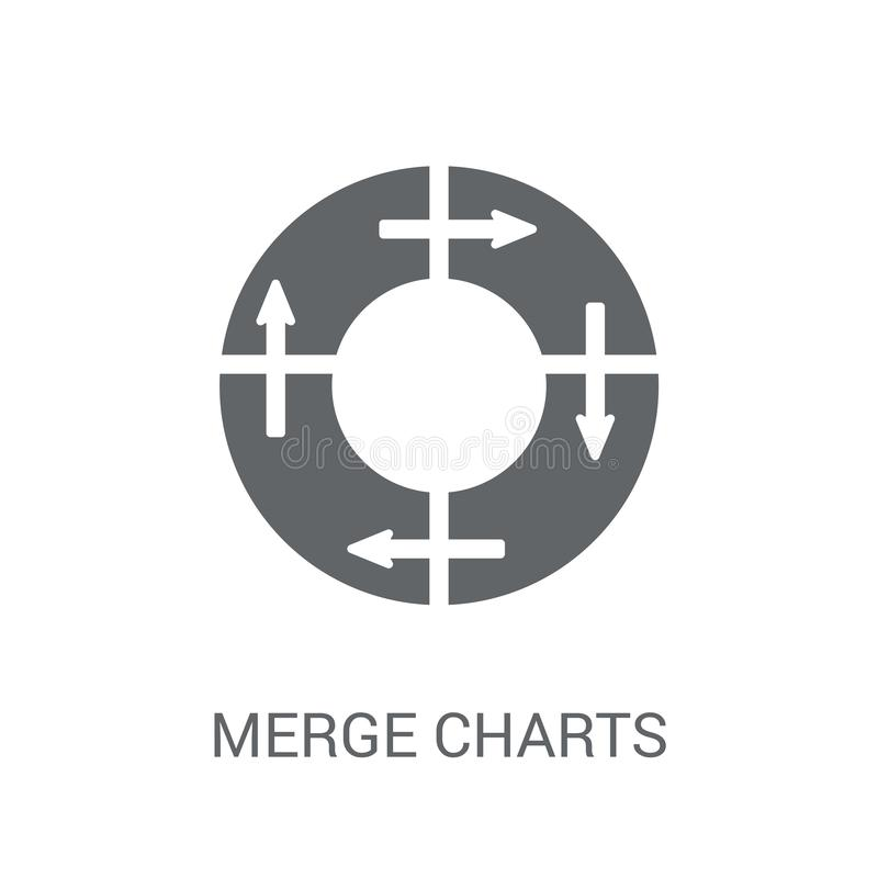 Merge charts icon. Trendy Merge charts logo concept on white background from Business and analytics collection. Suitable for use on web apps, mobile apps and royalty free illustration