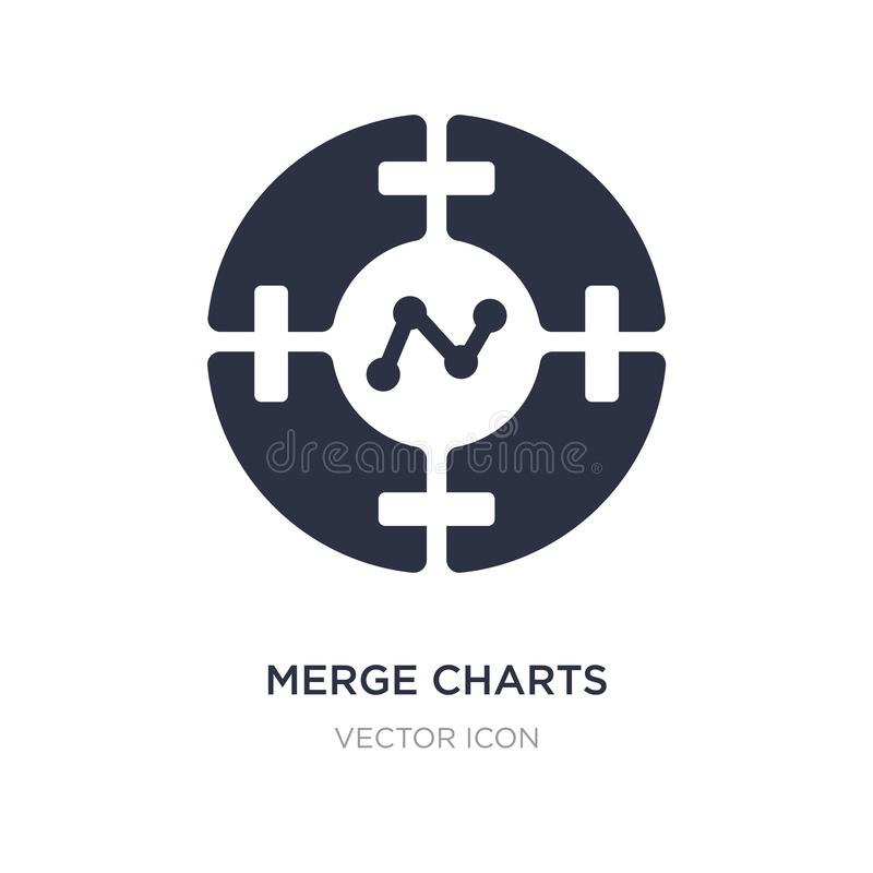 merge charts icon on white background. Simple element illustration from Business and analytics concept vector illustration