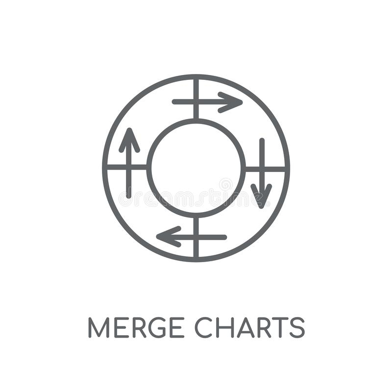 Merge charts linear icon. Modern outline Merge charts logo conce. Pt on white background from Business and analytics collection. Suitable for use on web apps stock illustration