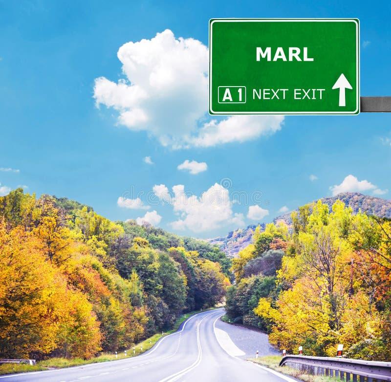 MERGEL-Verkehrsschild gegen klaren blauen Himmel lizenzfreies stockbild