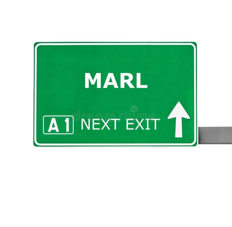 MERGEL-Verkehrsschild lokalisiert auf Weiß stockfotografie