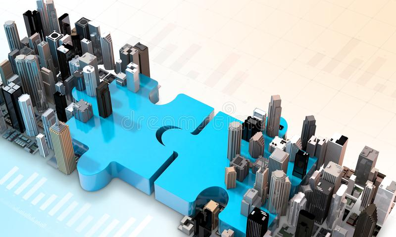 Merger and acquisition business concept, join puzzle 3d royalty free illustration