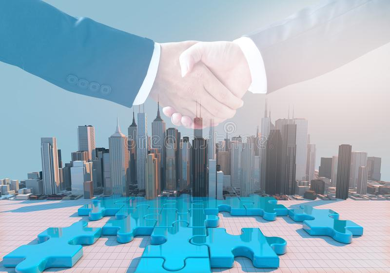 Merger and acquisition business concept, join puzzle pieces. Merger and acquisition business concept, join company on puzzle pieces and handshake, 3d render royalty free stock images
