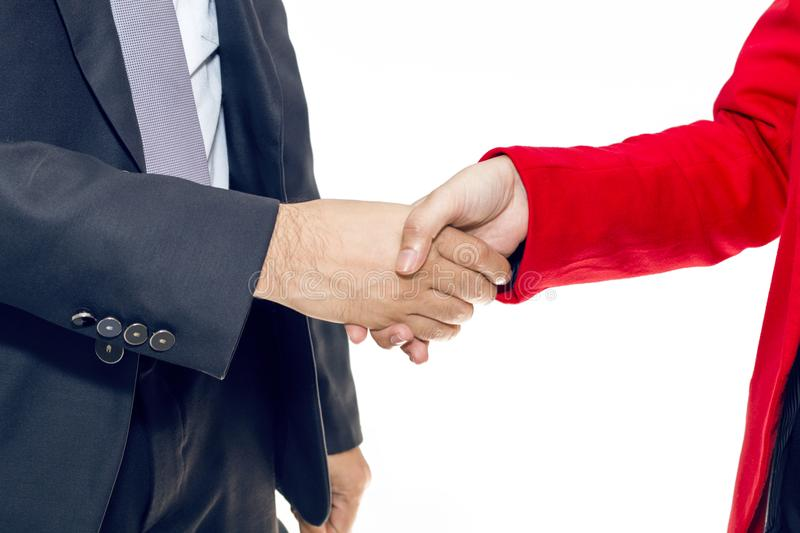 Merger and acquisition.Manager businessman handshake with woman royalty free stock photos