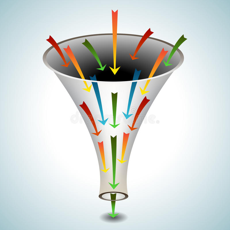 Merging Arrows Funnel Icon. An image of a 3d funnel icon with merging arrows stock illustration