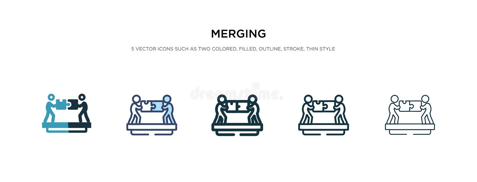 Merging icon in different style vector illustration. two colored and black merging vector icons designed in filled, outline, line. And stroke style can be used vector illustration