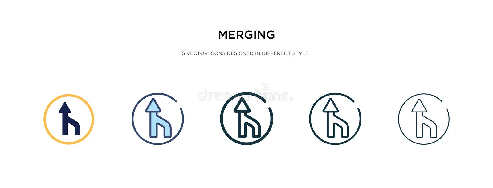 Merging icon in different style vector illustration. two colored and black merging vector icons designed in filled, outline, line. And stroke style can be used stock illustration