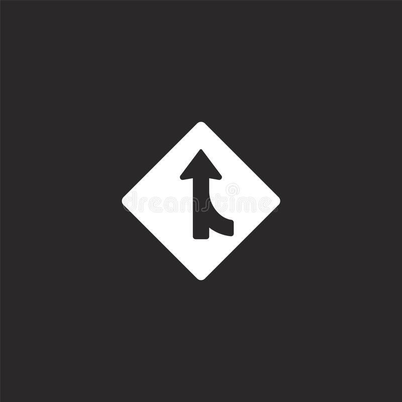 merging icon. Filled merging icon for website design and mobile, app development. merging icon from filled us road signs stock illustration