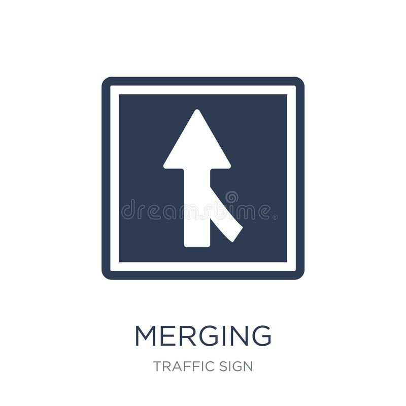 Merging sign icon. Trendy flat vector Merging sign icon on white stock illustration