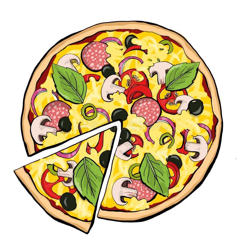 Merguez della pizza con la fetta illustrazione di stock