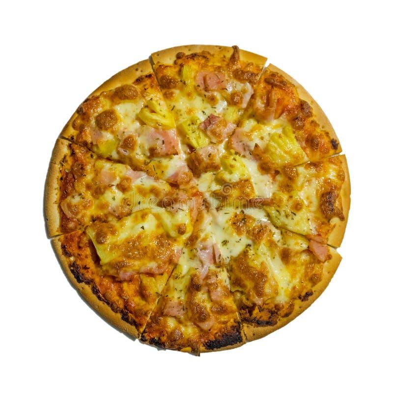 Merguez della pizza, pizza fresca deliziosa isolata su fondo bianco fotografia stock