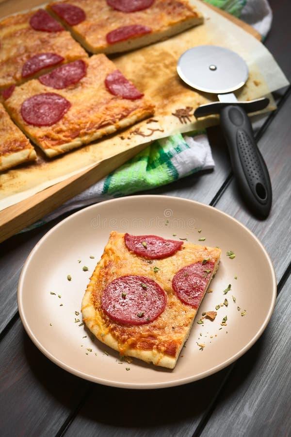 Merguez o pizza del salame fotografia stock