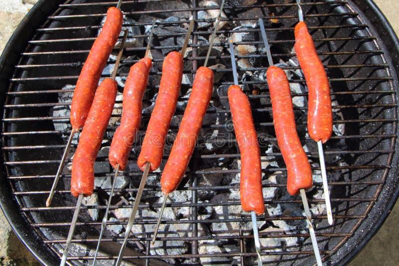 Merguez op barbecue royalty-vrije stock fotografie
