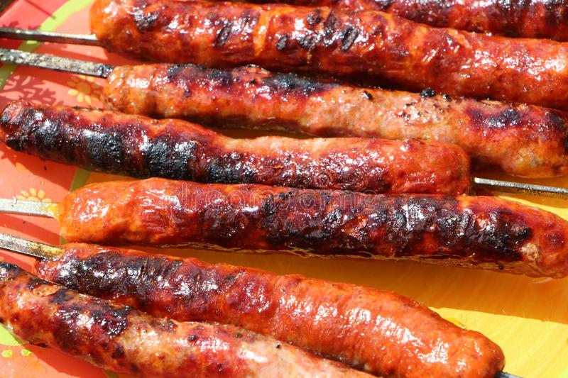Merguez on a plate royalty free stock photo