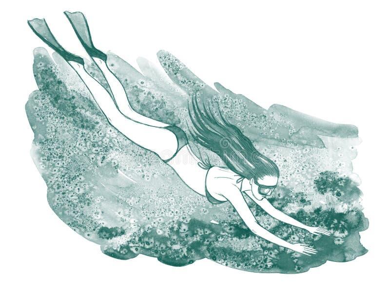 Mergulhador ilustração stock