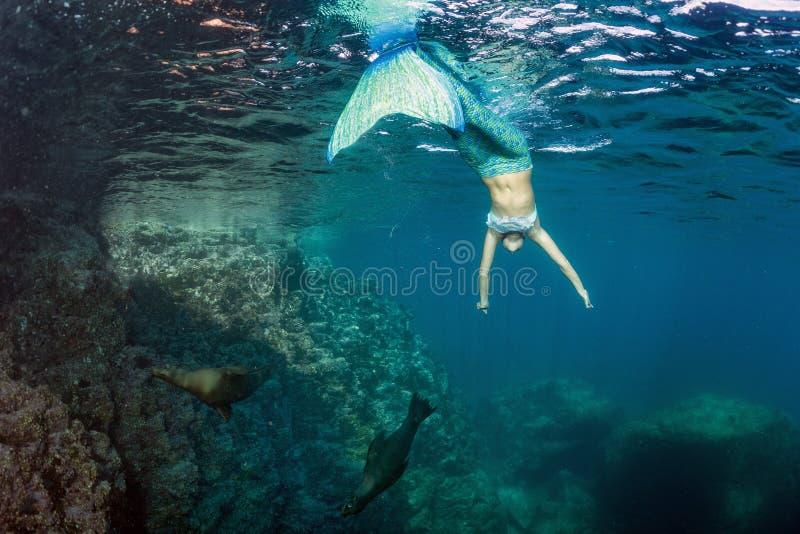 Mergulhador bonito louro da sereia subaquático fotografia de stock