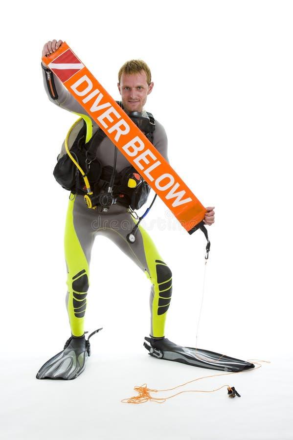 Mergulhador com salsicha da segurança fotografia de stock royalty free