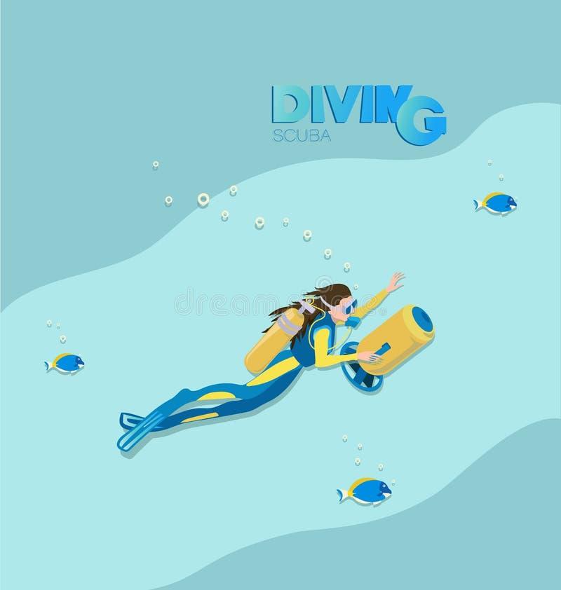 Mergulhador de mergulhador da menina com 'trotinette' subaquático e os peixes tropicais ilustração stock