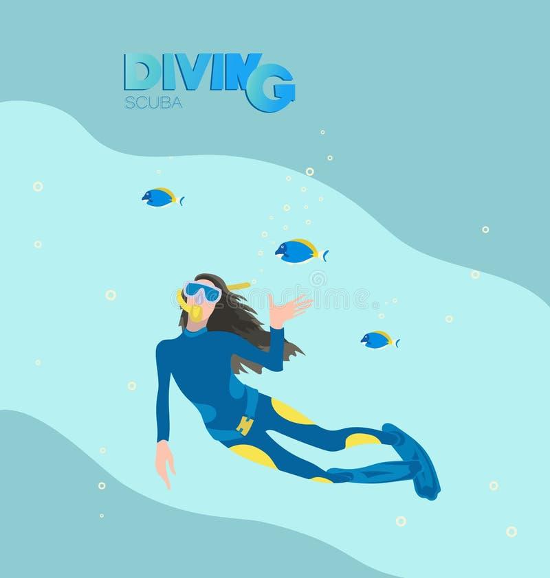Mergulhador de mergulhador da menina e peixes tropicais ilustração royalty free
