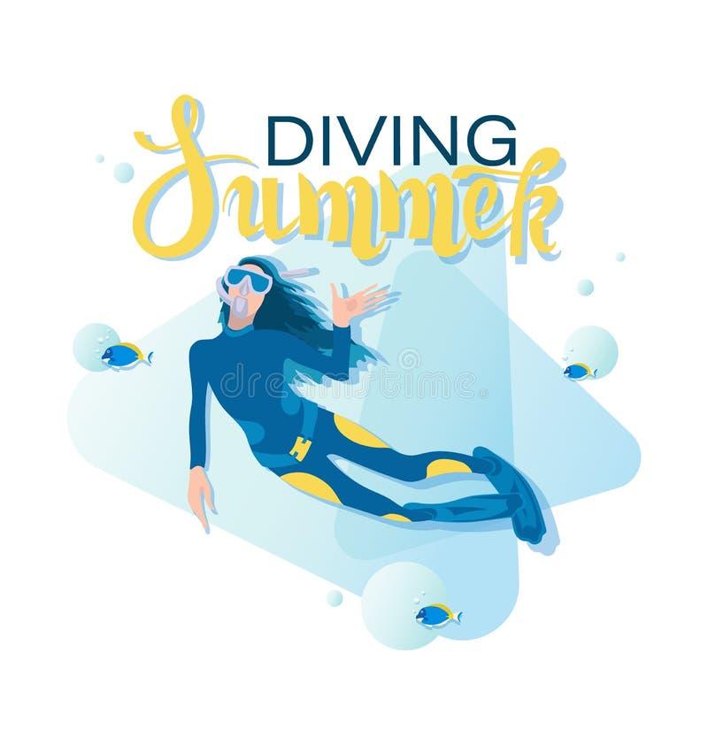 Mergulhador de mergulhador da menina e peixes tropicais MERGULHO DO VERÃO ilustração stock