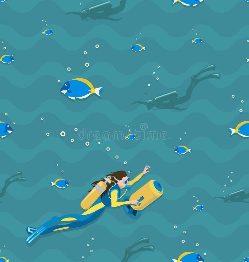 Mergulhador de mergulhador da menina e peixes tropicais Teste padr?o sem emenda ilustração royalty free