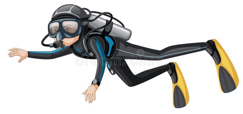Mergulhador de mergulhador do homem no fundo branco ilustração stock