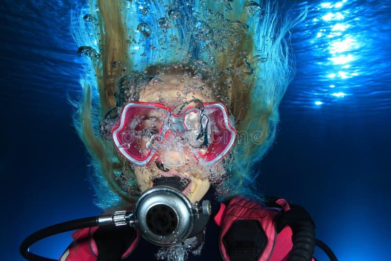Mergulhador de mergulhador fêmea fotos de stock