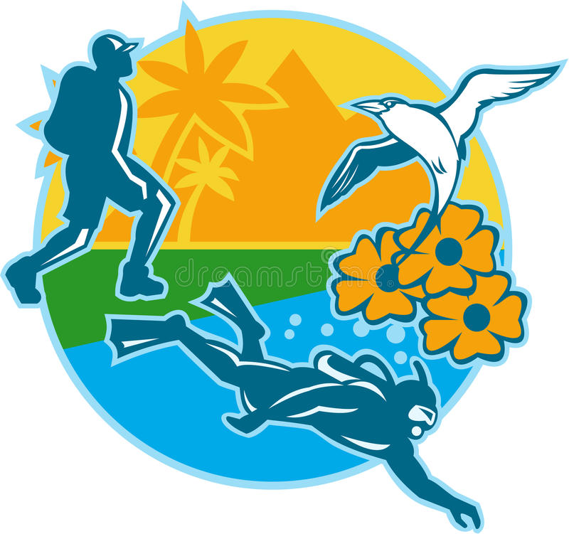 Mergulhador De Mergulhador Island Tropicbird Flowers Do Caminhante Retro Imagens de Stock Royalty Free