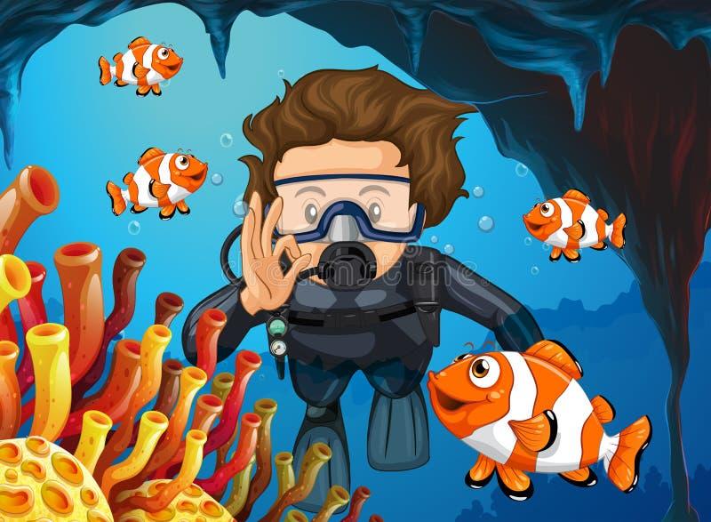 Mergulhador de mergulhador que mergulha debaixo d'água com clownfish ilustração royalty free