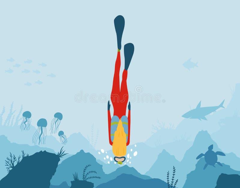 Mergulhador de mergulhador Mundo subaqu?tico Mergulho da menina em um recife de corais Nata??o subaqu?tica F?rias de ver?o, feria ilustração royalty free