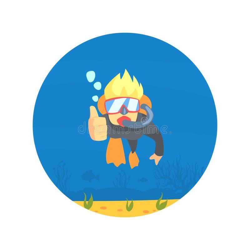 Mergulhador de mergulhador no terno de natação, nas aletas e na natação da máscara, homem que mostra os polegares acima, esporte  ilustração stock