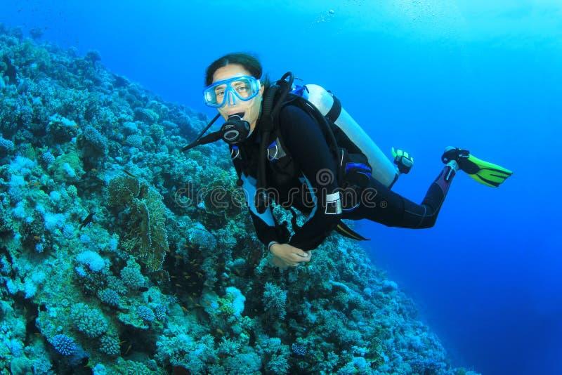 Mergulhador do mergulhador da mulher nova fotos de stock