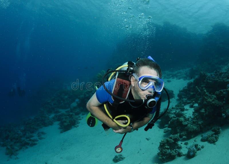 Mergulhador do mergulhador sobre o recife coral no Mar Vermelho fotografia de stock