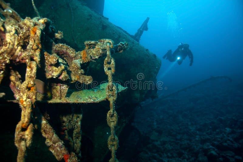 Mergulhador e destruição foto de stock royalty free