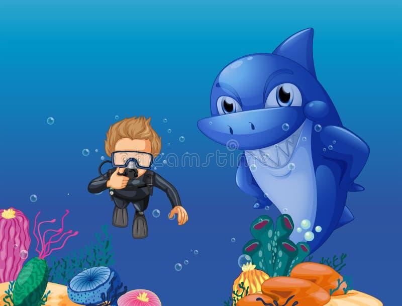 Mergulhador e tubarão de mergulhador subaquáticos ilustração do vetor